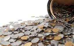 för mynt kruka mycket Arkivfoton