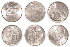 För myntsamling för indonesisk rupiah uppsättning Arkivfoton