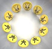 För myntsymbol för yen guld- cirkel Arkivbild