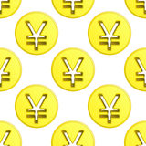 För myntsymbol för yen guld- vektor för tegelplatta för modell Royaltyfria Foton