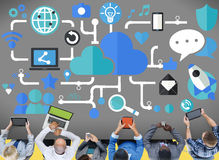 För nätverkandeteknologi för socialt massmedia socialt begrepp för anslutning Arkivbild