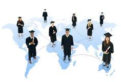 För nätverksavläggande av examen för student socialt begrepp för gemenskap royaltyfria foton
