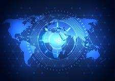 För nätverksteknologi för global affär bakgrund, vektor Arkivbild