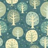 För nattskog för vektor gullig bakgrund Royaltyfria Bilder