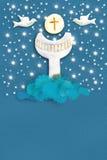 För nattvardsgånghälsning för helig gral kort royaltyfri illustrationer