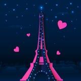 För nattvektor för utklipp pappers- Eiffeltorn vektor illustrationer