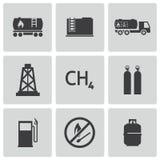 För naturgassymboler för vektor svart uppsättning Arkivbilder