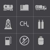 För naturgassymboler för vektor svart uppsättning Arkivfoton
