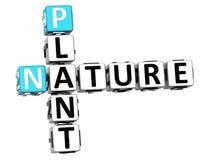 för naturkorsord för växt 3D text Royaltyfri Fotografi