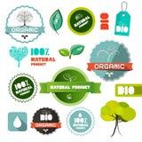 För naturproduktlägenhet för Bio vektor organiska etiketter för design Arkivbilder