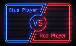 För neon ram kontra Team blåa och röda spelare för stridkonkurrens ramar Begrepp för vektor för matchkonfrontationskärm vektor illustrationer
