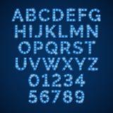 För neonlampa för vektor blått alfabet, stilsort för film-, bio- och cirkustecken stock illustrationer