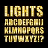 För neonlampa för vektor gul kasino eller teater för show för stilsort för bokstäver vektor illustrationer