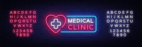 För neonskylt för medicinsk klinik vektor Glödande symbol för medicinskt neon, ljust baner, neonsymbol, designbeståndsdel vektor royaltyfri illustrationer