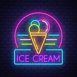 För neontecken för is cream- vektor på bakgrund för tegelstenvägg vektor illustrationer