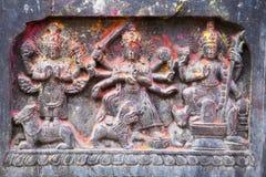 för nepal för forntida changu hinduiskt narayan tempel lättnad Fotografering för Bildbyråer