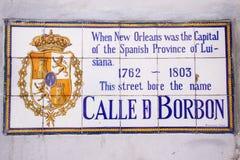 för New Orleans för bourbon historisk gata tecken Royaltyfria Bilder