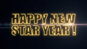 För NEW STAR för guld- gulinglaser-neon LYCKLIG text ÅR med skinande ljus optisk signalljusanimering på ny svart bakgrund - arkivfilmer