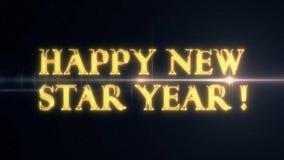 För NEW STAR för guld- gulinglaser-neon LYCKLIG text ÅR med skinande ljus optisk signalljusanimering på ny svart bakgrund - stock video