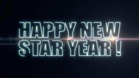 För NEW STAR för mjukt blåttlaser-neon LYCKLIG text ÅR med skinande ljus optisk signalljusanimering på ny svart bakgrund - lager videofilmer