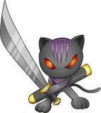 för ninja för illustration för kattdesignlutning Royaltyfri Bild