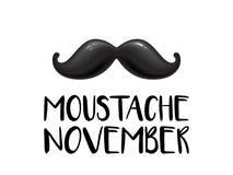 För November för cancer för prostata för man för Movember män vård- mustasch för vektor för månad medvetenhet vektor illustrationer