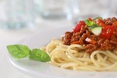 För nudelpasta för spagetti Bolognese eller Bolognaise mål royaltyfri bild