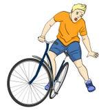 för objektbana för bakgrund clipping isolerad white Mannen faller av cykeln E royaltyfri illustrationer