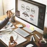 För ockupationdesign för idéer idérikt begrepp för start för teckning för studio Royaltyfri Bild