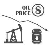 För olja diagram ner vektor Droppe i oljepriser Olje- infographics Arkivfoton