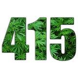 För områdesmarijuana för 415 fjärd Logo With Clear Background High kvalitet royaltyfri illustrationer