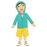 För omslagsvektor för pojke bärande illustration Arkivfoto