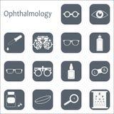 För optometrysymbol för vektor plan uppsättning med lång skugga Optiker oftalmologi, visionkorrigering, ögonprov, ögonomsorg, öga Arkivfoton
