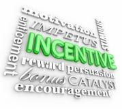För ordbakgrund för incitamentet 3d motivationen belönar uppmuntran stock illustrationer