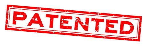 För ordfyrkant för Grunge röd patenterad stämpel för gummi på vit bakgrund stock illustrationer