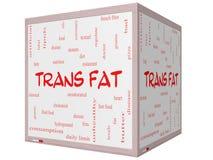 För ordmoln för trans. fett begrepp på 3D en kub Whiteboard Arkivfoto