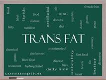För ordmoln för trans. fett begrepp på en svart tavla Royaltyfri Bild