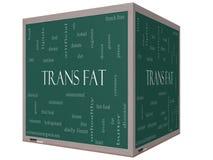 För ordmoln för trans. fett begrepp på en svart tavla för kub 3D Arkivfoton