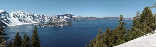 för oregon för kraterlake nationell park panorama Arkivfoton