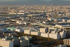 För Osaka för flyg- sikt affär i stadens centrum Japan stad Royaltyfri Fotografi