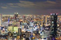 För Osaka för flyg- sikt i stadens centrum central affär stad Royaltyfri Foto