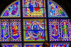 För oskuldMary Saints Rose Window Stained för basilika blå kyrka Siena Italy för domkyrka exponeringsglas royaltyfria bilder