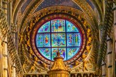 För oskuldMary Saints Rose Window Stained för basilika blå kyrka Siena Italy för domkyrka exponeringsglas fotografering för bildbyråer