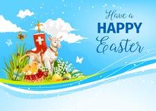 För påskhögtidlamm för påsk påsk- kort för hälsning för vektor stock illustrationer