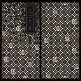För packekort för sömlös vektor japansk svartvit mall med traditionella japanska modeller vektor illustrationer