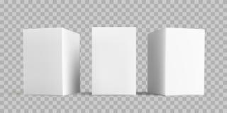 För packemodell för vit ask uppsättning Vektorn isolerade vita för papp- eller papperspacken för låda som 3D mallar för modeller  vektor illustrationer
