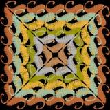 För paisley för broderivektor färgrik modell repetition Grunge texturerad blom- prydnad med broderade paisley blommor ethnic royaltyfri illustrationer