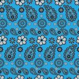 för paisley för bakgrund blå stile modell Arkivbilder