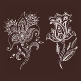 För paisley för modell för design för klotter för blomma för mehndi för hennatatueringbrunt dekorativ dekorativ indisk mhendi ara Royaltyfri Foto