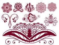 För paisley för modell för design för klotter för blomma för mehndi för hennatatueringbrunt dekorativ dekorativ indisk mhendi ara stock illustrationer